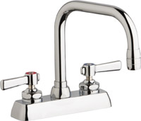 "Chicago Faucets W4D-DB6AE35-369ABCP - 4"" Deck Mount Washboard Sink Faucet"