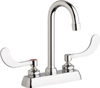 "Chicago Faucets W4D-GN1AE35-317ABCP - 4"" Deck Mount Washboard Sink Faucet"