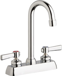 "Chicago Faucets W4D-GN1AE35-369ABCP - 4"" Deck Mount Washboard Sink Faucet"