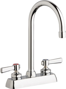 "Chicago Faucets W4D-GN2AE35-369ABCP - 4"" Deck Mount Washboard Sink Faucet"
