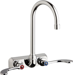 "Chicago Faucets W4W-GN2AE35-317ABCP - 4"" Wall Mount Washboard Sink Faucet"