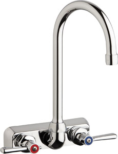 "Chicago Faucets W4W-GN2AE35-369ABCP - 4"" Wall Mount Washboard Sink Faucet"