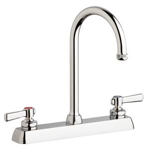 "Chicago Faucets W8D-GN2AE1-369ABCP - 8"" Deck Mount Washboard Sink Faucet"