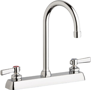"Chicago Faucets W8D-GN2AE35-369ABCP - 8"" Deck Mount Washboard Sink Faucet"