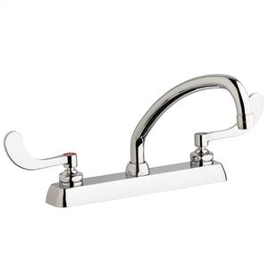 "Chicago Faucets W8D-L9E35-317ABCP - 8"" Deck Mount Washboard Sink Faucet"