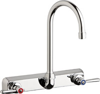 "Chicago Faucets W8W-GN2AE35-369ABCP - 8"" Wall Mount Washboard Sink Faucet"