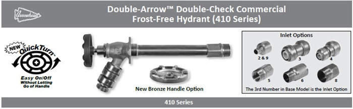 Double Check Commercial Frost Free Hydrant Arrowhead Brass