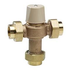 Chicago Faucets 122-ABNF Thermostatic Mixing Valve (for 1 to 8 fittings) with Standard 1/2 inch NPT threaded inlet and outlet union connections