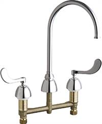 Chicago Faucets - 201-AGN8FC317ABCP - 8-inch Center Kitchen Sink Faucet without Spray. This low flow FC model comes with a 1.5 GPM flow control device built in the spout.