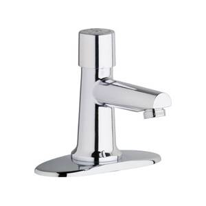 Chicago Faucets 3500-4E2805ABCP - 4-inch Center Single Supply Metering Sink Faucet