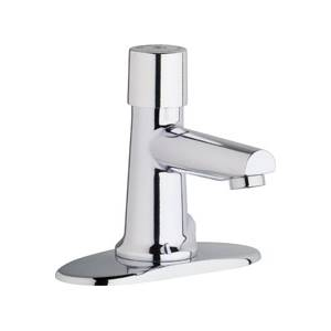 Chicago Faucets 3501-4E2805ABCP - 4-inch Center Hot and Cold Water Metering Mixing Sink Faucet