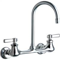 Chicago Faucets 540-LDGN2AE3ABCP - 8-inch Center Wall Mounted Faucet with Gooseneck Spout