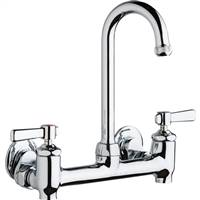 Chicago Faucets 640-GN1AE1-369YAB - Hot and Cold Water 8-inch Wall Mounted Sink Faucet with Integral Supply Stops
