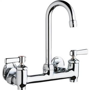 Chicago Faucets 640-GN1AE35-369YAB - Hot and Cold Water 8-inch Wall Mounted Sink Faucet with Integral Supply Stops