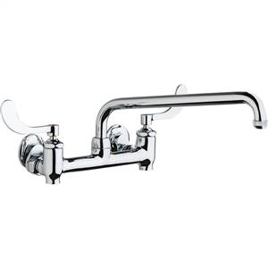 Chicago Faucets 640-L12E1-317YAB - Hot and Cold Water 8-inch Wall Mounted Sink Faucet with Integral Supply Stops