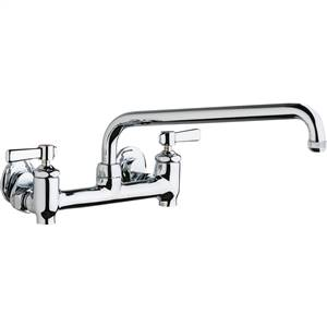 Chicago Faucets 640-L12E1-369YAB - Hot and Cold Water 8-inch Wall Mounted Sink Faucet with Integral Supply Stops