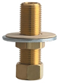 Chicago Faucet - 748-002KJKABRBF Installation Shank for Wall and Deck Mounted Faucets. This brass nipple is 1/2 inch X 2 11/16 inch long and is straight threaded, so you can cut it down to the length you require for installation.