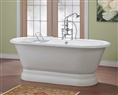 Cheviot 2165W - CARLTON Cast Iron Bath with Cast Iron Pedestal, With Continuous Rolled Rim