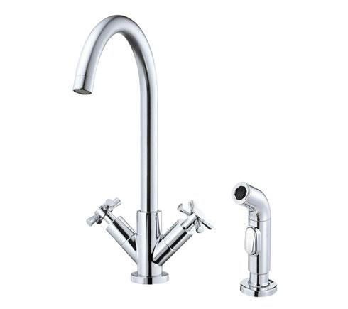 Danze D402059 Parma 2H Kitchen Faucet w/ Cross Handle w/ Spray 2.2gpm Chrome