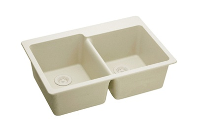 Elkay   ELG250RBQ0   E Granite Top Mounted Double Bowl Sink, Bisque