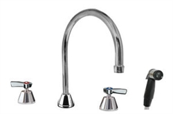 Encore (CHG) KL88-8101-SE1 - Widespread Faucet, Deck Mount, Polished Chrome, 5-inch (127mm) to 24-inch (610mm) Adjustable Inlet Centers, Ceramic Valves, 8-inch (203mm) Swivel  Spout, 2.2 gpm Aerator, Side Spray, Lever Handles