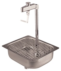 Fisher Stainless Steel Pedestal Glass Filler with Sink has an adjustable volume control. This glass filler works perfect with glass, plastic and paper cups and is available in different heights.