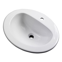 Gerber - MAXWELL S-RIM LAVATORY FAUCET 20-inch X17-inch OVAL 1-HOLE WHT TRAPEZOID CTN