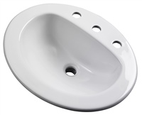 Gerber - MAXWELL S-RIM LAVATORY FAUCET 20-inch X17-inch OVAL 8-inch C WHT TRAPEZOID CTN