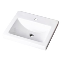 "Gerber 0012892 Wicker Park Countertop Lavatory 21""x18"" Rectangle with U-Shaped Basin - Single Hole White"
