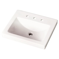 "Gerber 0012899 Wicker Park Countertop Lavatory 21""x18"" Rectangle with U-Shaped Basin - 8"" CC White"