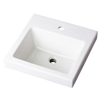 "Gerber 0013821 Wicker Park Countertop Lavatory 18""x18"" Square Single Hole White"