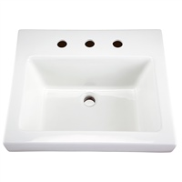 "Gerber 0013829 Wicker Park Countertop Lavatory 21""x18"" Rectangle 8"" CC White"