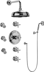 Graff GA1.222B - Traditional Thermostatic Set w/Body Sprays & Handshower (Rough & Trim)