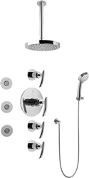 Graff GB1.131A - Contemporary Round Thermostatic Set w/Body Sprays & Handshower (Rough & Trim)