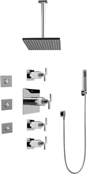 Graff GC1.121A - Contemporary Square Thermostatic Set w/Body Sprays & Handshower (Rough & Trim)