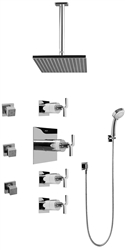 Graff GC1.231A - Contemporary Square Thermostatic Set w/Body Sprays & Handshower (Rough & Trim)
