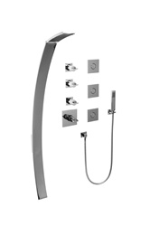 Graff - GE1.2-C14S-PC - Luna Contemporary Square Thermostatic Set with Body Sprays and Handshower