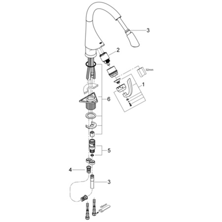 Grohe K4 - 32 072 Pull Out Spray Faucet Replacement Parts