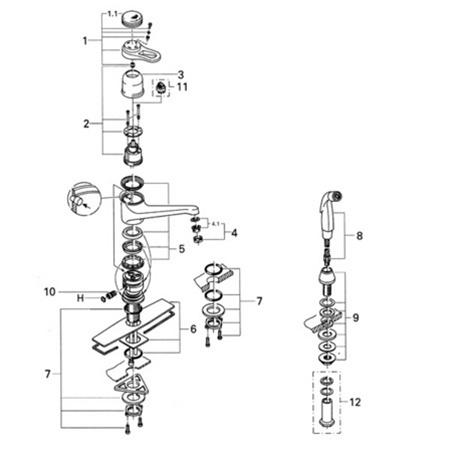 Grohe Europlus Original 33 864 Single Handle Faucet Parts
