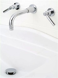 Jaclo 9880-WALL-L Contempo 8-inch Center Wall Faucet with Lever Handles and 8-inch Spout