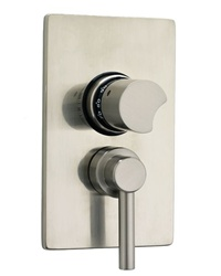 Jaclo T6572 Contempo Round Dual 1/2-inch Thermostatic and Volume Control Valve with Trim Kit