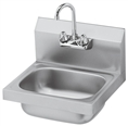 Krowne Hand Sink, Low Lead Compliant, 16-inch x 15-inch OA, Wall Mount w/Bracket, 10-inch Wide x 14-inch x 6-inch Deep Compartment, Splash Mount Gooseneck Faucet, 1-1/2-inch Drain, Stainless Steel Construction, Wall Mount Hand Sink