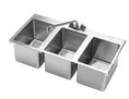Krowne HS-3819 - Drop-In Hand Sink, 3 Compartment, 36-inch x 18-inch x 10-inch OA, 10-inch x 14-inch x 10-inch Deep Bowl, w/Deck Mounted Faucet, 1-1/2-inch Drain, Stainless Steel Construction (34-inch x 14-1/4-inch Cutout)