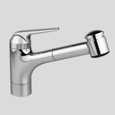 KWC 10.061.033.102 Domo Series Side Lever (White) Pull Out Spray Kitchen  Faucet with 9-Inch Spout