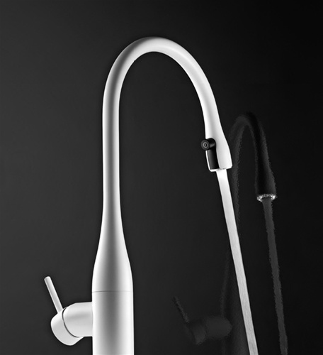 White Kitchen Faucet kwc 10.121.103.150 eve pull down kitchen faucet w/light (white)