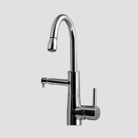 KWC 10.501.222.700 SYSTEMA Pull Down Kitchen Faucet with Integrated Soap  Dispenser 8-Inch Pull Down Spout (Stainless Steel)
