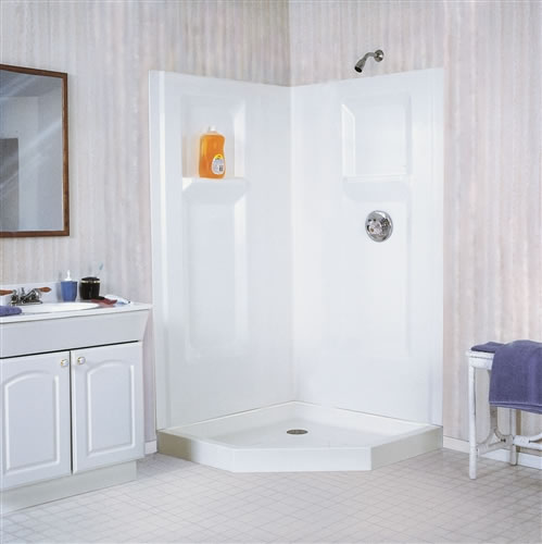Mustee 738cwht Durawall Corner Shower Wall 38 Quot Fiberglass