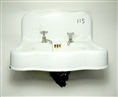 Vintage Cast Iron Wall Hung Sink with holes drilled for single basin style faucets.