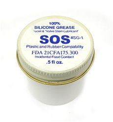 SOS Products Silicone Grease is our recommended lubricant for faucet and valve stems. This grease is safe for incidental food contact and is FDA approved. SOS SG-1 is 100% Silicone Grease available to you in a 0.5 FL oz. container.