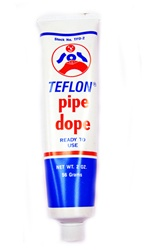 SOS Products Teflon Pipe Dope 2 oz. Tube for heavy duty sealing, comes in a 4 FL. OZ. container with brush for easy application to pipe threads. Safe, non-toxic mixture can be used with food service systems.